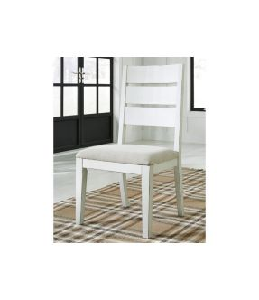 Baldwin White Fabric Upholstered Wooden Dining Chair