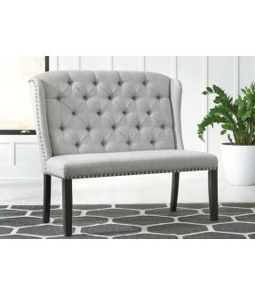Wattle Fabric Upholstered Wooden Dining Bench with Nailhead