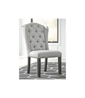 Wattle Fabric Upholstered Wooden Dining Chair with Nailhead