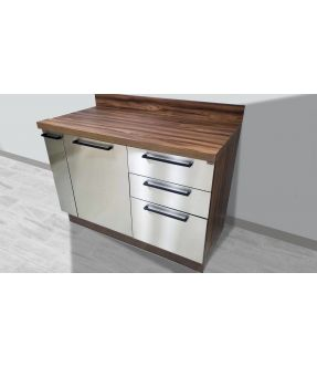 Stainless steel base kitchen cabinet/cupboard with spice rack - Gourmet Grey Flatpack DIY