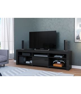 Pablo Black Large TV Entertainment Unit for 72 Inch TV - Made in Brazil