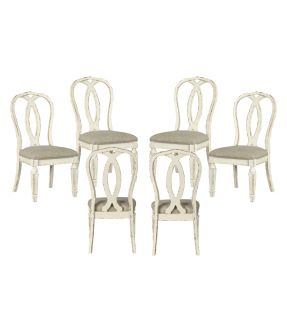 Caroline Fabric Upholstered Wooden Ribbonback 6 Dining Chair