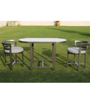 Lambeth Grey Oval Aluminium Outdoor Dining Table with 2 Chairs