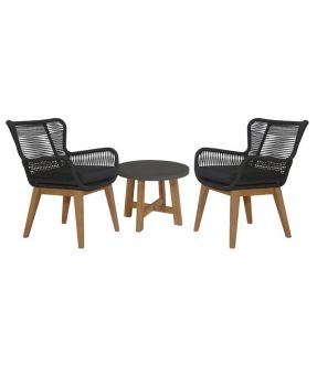 Bow Outdoor Fabric Upholstery Lounge Suite ( 2 Armchair + 1 Side Table)