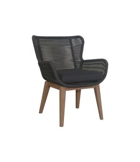 Bow Outdoor Fabric Upholstery Black Rope Armchair