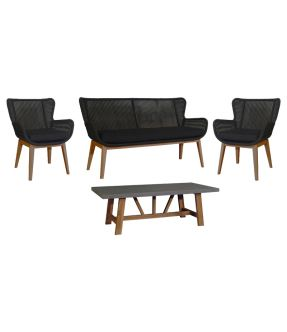 Bow Outdoor Fabric Upholstery Lounge Suite ( 2 Armchair + 2 Seater + 1 Coffee Table)