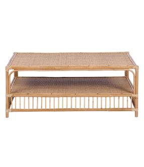 Rattan Rectangular Coffee Table Tropical Style Natural Wood Colour - Dollis