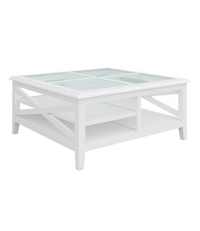 Wooden Square Coffee table White with Tempered Glass Top - Bickley
