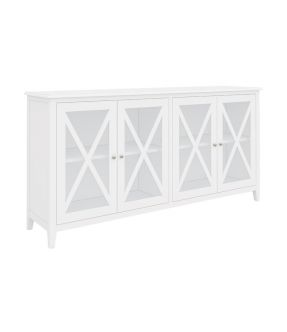 Wooden Accent Cabinet White with 4 Tempered Glass Doors - Bickley