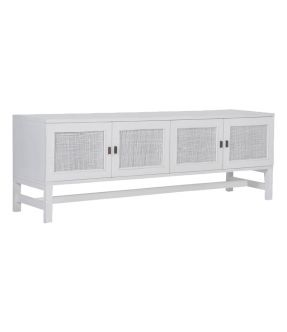 Cowley White Wooden Accent Cabinet with 4 Doors