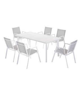 Dulwich Aluminum Outdoor Rectangular Dining Table with 6 Chairs