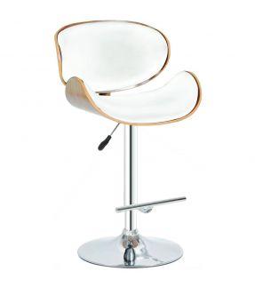 Gants  White PU Leather Gas lift Swivel Bar Chair