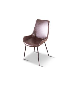 Grove Brown Vintage Leather Upholstered Dining Chair