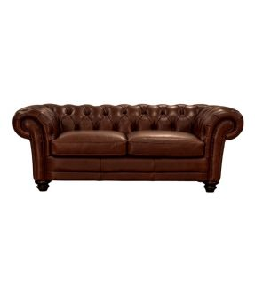 Genuine Leather 2 Seater Brown Chesterfield Sofa - Brixton