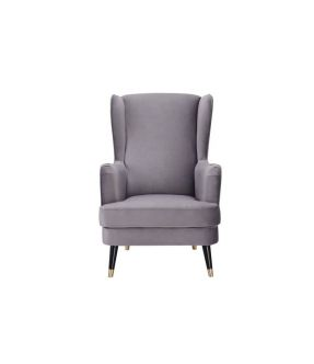 Accent Chair Grey Fabric Upholstery Wooden leg - City