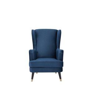 Accent Chair Navy Fabric Upholstery Wooden leg Armchair - City