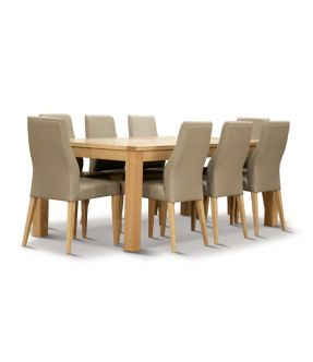Covent Rectangular Dining Table Set with 8 Wooden Chairs