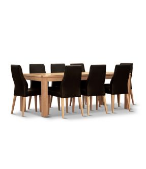 Covent Rectangular Dining Table Set with 8 Black Wooden Chairs