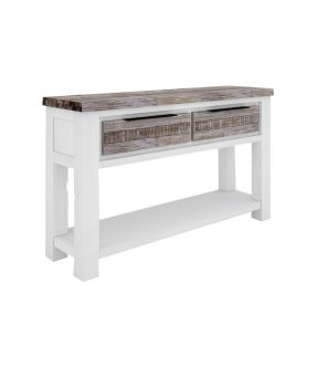 Wooden Console Table White with 2 Drawers - Sunbury