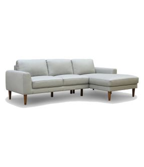 Genuine Leather 3 Seater Contemporary Pewter Sofa with chaise - Newham