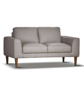 Genuine Leather 2 Seater Contemporary Pewter Sofa - Newham