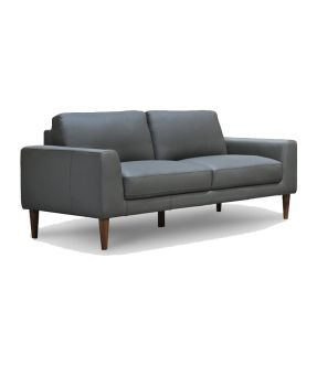 Genuine Leather 3 Seater Contemporary Charcoal Sofa - Newham