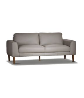 Genuine Leather 3 Seater Contemporary Pewter Sofa - Newham
