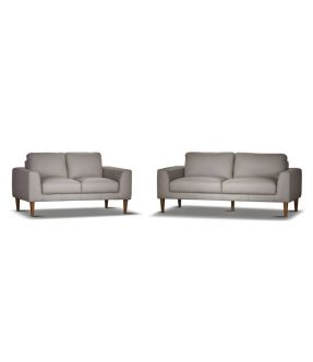 Genuine Leather Lounge Suite Contemporary Pewter Sofa Set (3 seater + 2 seater) - Newham