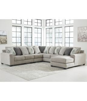 Kenedy 7 Seater Modular Fabric Lounge Suite with Chaise