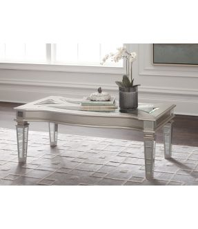 Casey Rectangular Wooden Coffee Table with Mirrored Glass Top