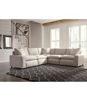 Moreland Beige 5 Seater Modular Fabric Sofa