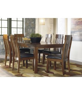 Natasia Rectangular Dining Table Set with 6 Wooden Chairs