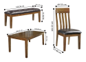 Natasia Rectangular Dining Table Set with 4 Wooden Chairs + Bench