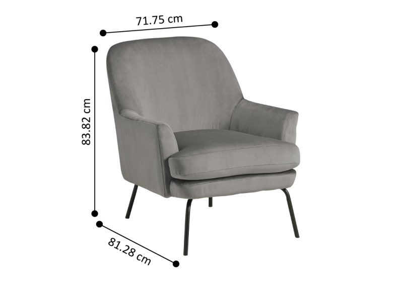 Alford Grey Fabric Accent Chair