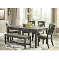 Tracy Rectangular Dining Table Set with 4 Wooden Chairs + Bench