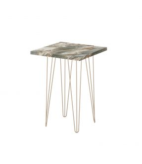 Eltham Side Table with Wooden Top Marble Stone Effect and Chrome Legs - 62 cm Height