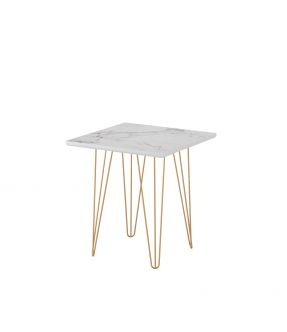 Bendigo Small Side Table with Wooden Top White Stone Effect and Chrome Legs