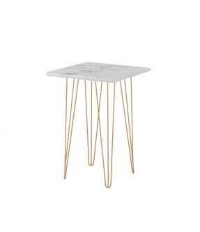 Bendigo Tall Side Table with Wooden Top White Stone Effect and Chrome Legs
