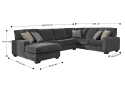 Jackson 6 Seater Modular Fabric Lounge Suite with Chaise