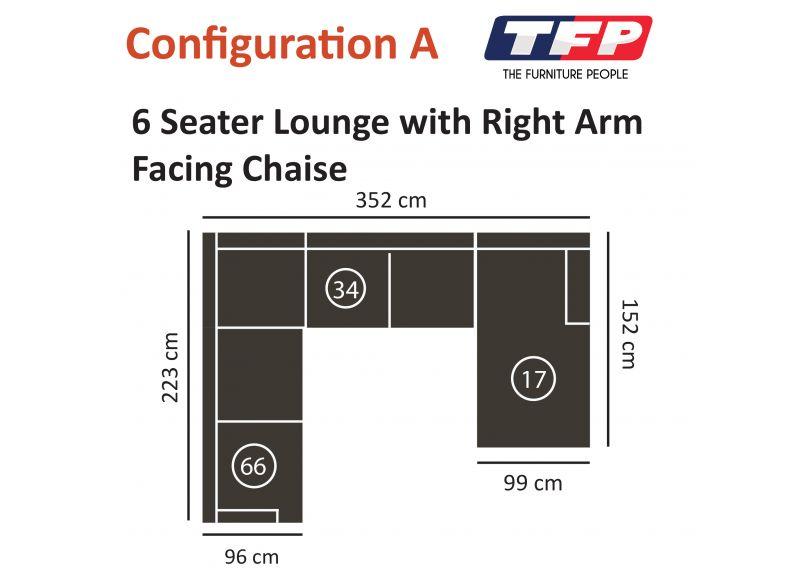 Kensington 6 Seater Fabric Corner Sofa with Chaise