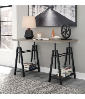 Wharf Adjustable Home Office Desk With Shelves