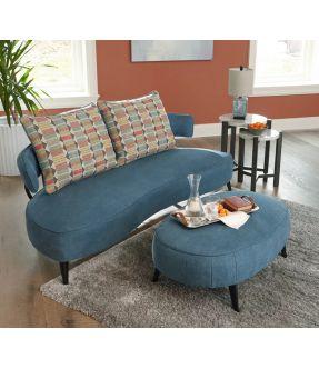 Eltham 2 Seater Fabric Sofa with Ottoman Black Metal Legs