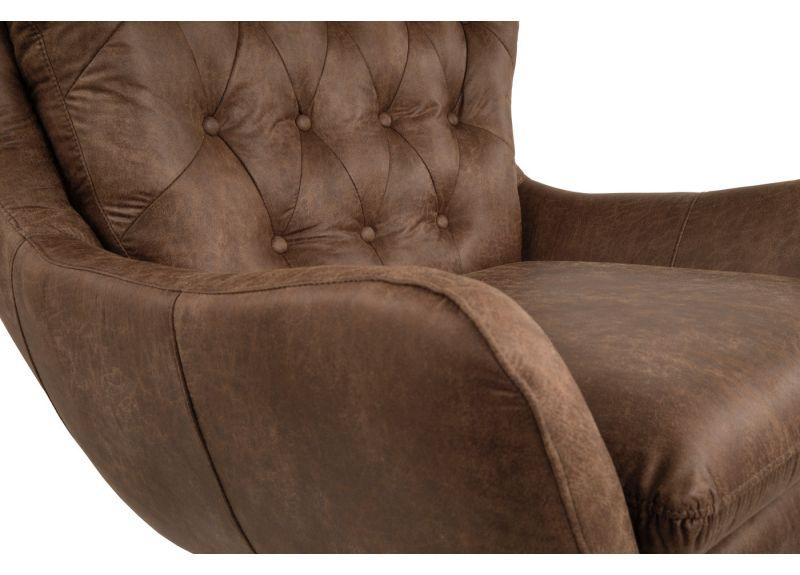 Reservoir 360-degree Swivel Armchair in Brown Faux Leather