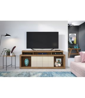 Titan Large Entertainment Unit With Sliding Storage Doors for 70 Inch TV - Made in Brazil