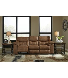 Oregon Faux Leather 3 Seater Bark Reclining Sofa