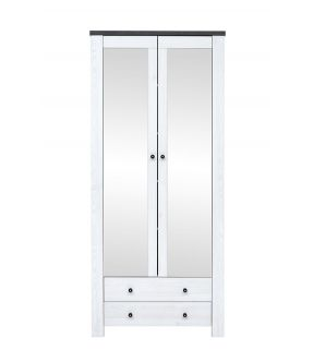Flemington White Bookcase with 5 Shelves, Drawers and Mirror Doors