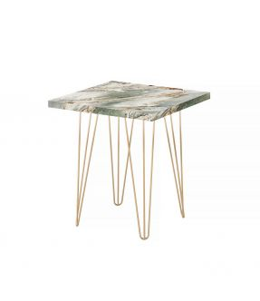 Eltham Side Table with Wooden Top Marble Stone Effect and Chrome Legs