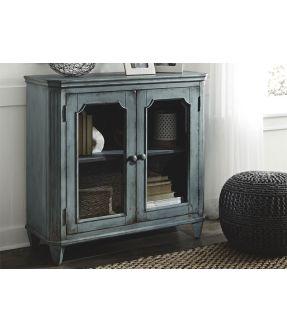 Eltham Glass Front Wooden Vintage Side Cabinet - Grey/Blue