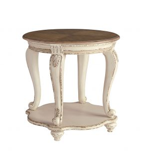 Caroline Circular Wooden Round Side Table