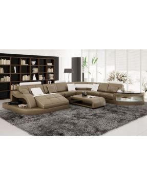Octavia 6 Seater Leather Lounge Suite with Chaise + Side Table